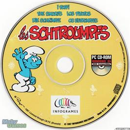 Artwork on the Disc for The Smurfs on the Microsoft DOS.