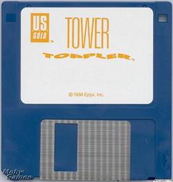 Artwork on the Disc for Tower Toppler on the Microsoft DOS.