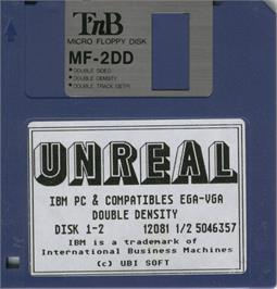 Artwork on the Disc for Unreal on the Microsoft DOS.