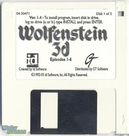 Artwork on the Disc for Wolfenstein 3D on the Microsoft DOS.