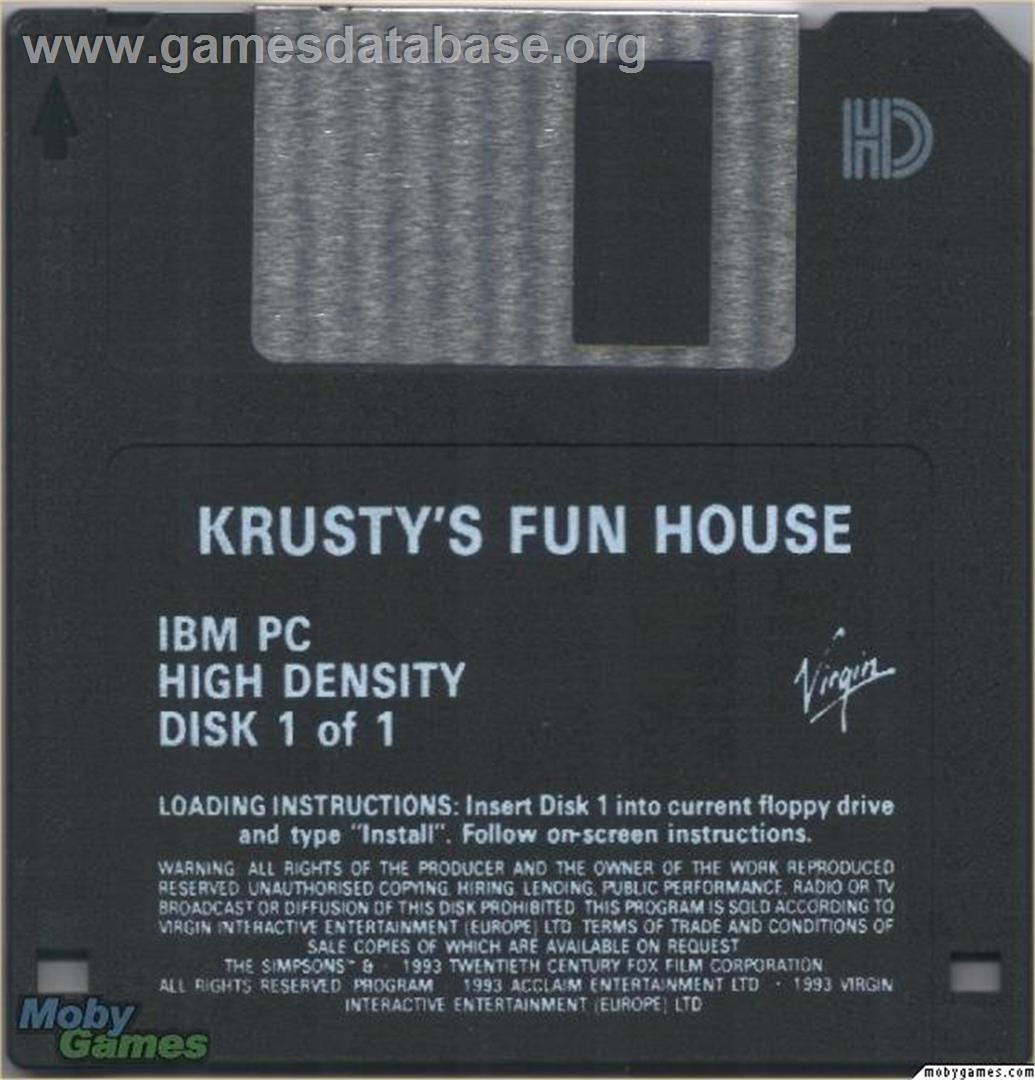 Krusty's Fun House - Microsoft DOS - Artwork - Disc
