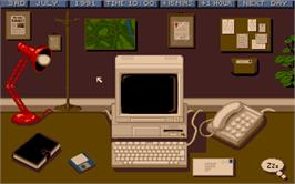 In game image of Crime City on the Microsoft DOS.