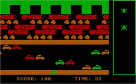 In game image of Frogger on the Microsoft DOS.