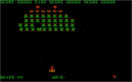 In game image of Galaxian on the Microsoft DOS.