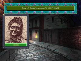 In game image of Jack the Ripper on the Microsoft DOS.