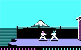 In game image of Karateka on the Microsoft DOS.