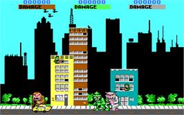 In game image of Rampage on the Microsoft DOS.