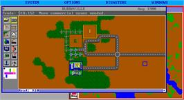 In game image of SimCity on the Microsoft DOS.