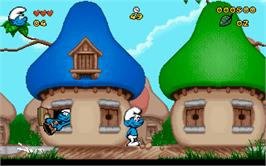 In game image of The Smurfs on the Microsoft DOS.