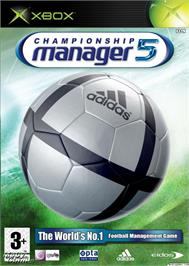 Box cover for Championship Manager 5 on the Microsoft Xbox.