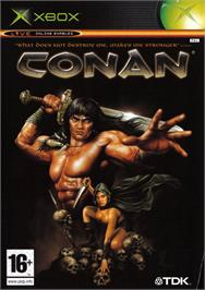 Box cover for Conan on the Microsoft Xbox.