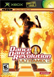 Box cover for Dance Dance Revolution Ultramix 3 on the Microsoft Xbox.