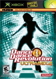 Box cover for Dance Dance Revolution Ultramix 4 on the Microsoft Xbox.