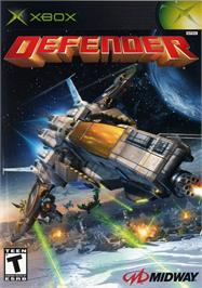 Box cover for Defender on the Microsoft Xbox.