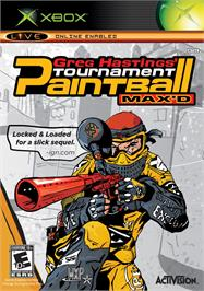 Box cover for Greg Hastings' Tournament Paintball MAX'D on the Microsoft Xbox.