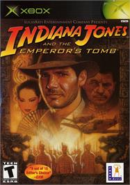 Box cover for Indiana Jones and the Emperor's Tomb on the Microsoft Xbox.