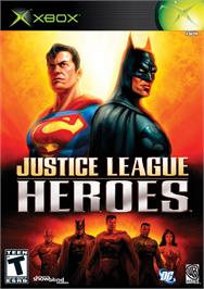 Box cover for Justice League Heroes on the Microsoft Xbox.