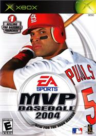 Box cover for MVP Baseball 2004 on the Microsoft Xbox.