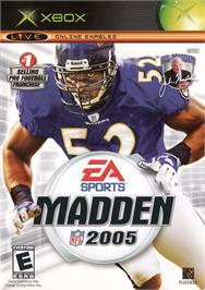 Box cover for Madden NFL 2005 on the Microsoft Xbox.