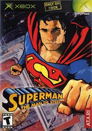 Box cover for Superman: The Man of Steel on the Microsoft Xbox.