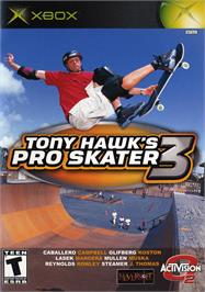 Box cover for Tony Hawk's Pro Skater 3 on the Microsoft Xbox.