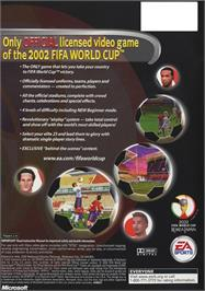 Box back cover for 2002 FIFA World Cup on the Microsoft Xbox.