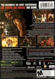 Box back cover for 50 Cent: Bulletproof on the Microsoft Xbox.