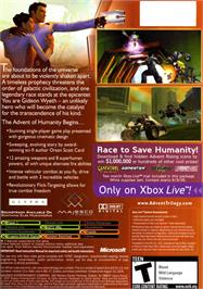 Box back cover for Advent Rising on the Microsoft Xbox.