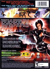 Box back cover for Aeon Flux on the Microsoft Xbox.