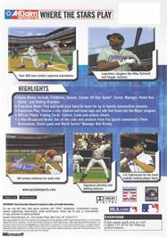 Box back cover for All-Star Baseball 2003 on the Microsoft Xbox.