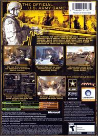 Box back cover for America's Army: Rise of a Soldier on the Microsoft Xbox.