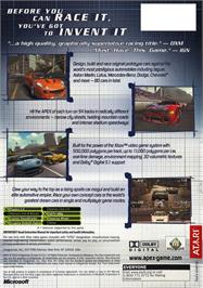 Box back cover for Apex on the Microsoft Xbox.