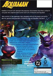 Box back cover for Aquaman: Battle for Atlantis on the Microsoft Xbox.
