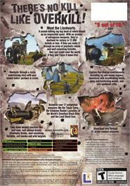 Box back cover for Armed and Dangerous on the Microsoft Xbox.