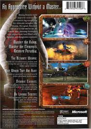 Box back cover for Azurik: Rise of Perathia on the Microsoft Xbox.