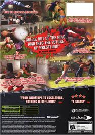 Box back cover for Backyard Wrestling: Don't Try This at Home on the Microsoft Xbox.