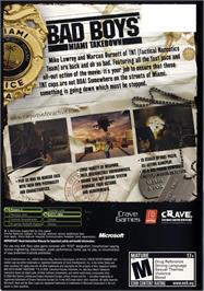 Box back cover for Bad Boys: Miami Takedown on the Microsoft Xbox.