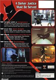 Box back cover for Batman: Vengeance on the Microsoft Xbox.