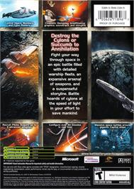 Box back cover for Battlestar Galactica on the Microsoft Xbox.