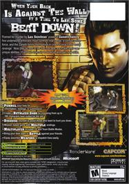 Box back cover for Beat Down: Fists of Vengeance on the Microsoft Xbox.