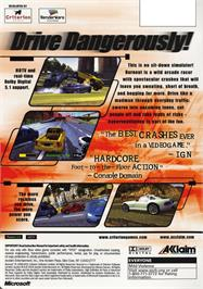 Box back cover for Burnout on the Microsoft Xbox.