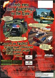 Box back cover for Burnout 2: Point of Impact on the Microsoft Xbox.