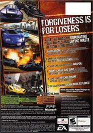 Box back cover for Burnout Revenge on the Microsoft Xbox.