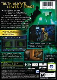 Box back cover for CSI: Crime Scene Investigation on the Microsoft Xbox.