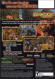 Box back cover for Cabela's Dangerous Hunts on the Microsoft Xbox.