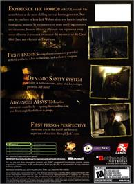Box back cover for Call of Cthulhu: Dark Corners of the Earth on the Microsoft Xbox.