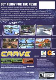 Box back cover for Carve on the Microsoft Xbox.