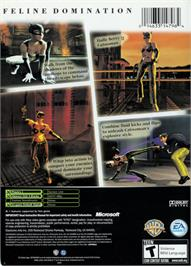 Box back cover for Catwoman on the Microsoft Xbox.