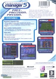 Box back cover for Championship Manager 5 on the Microsoft Xbox.