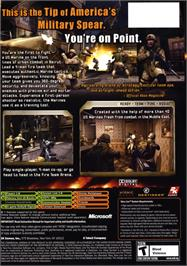 Box back cover for Close Combat: First to Fight on the Microsoft Xbox.